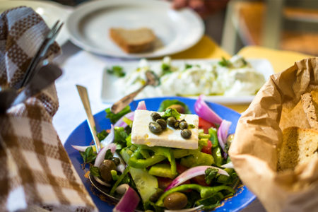 Greek Salad with Grilled Halloumi, Recipe Courtesy of Regent Seven Seas Chef