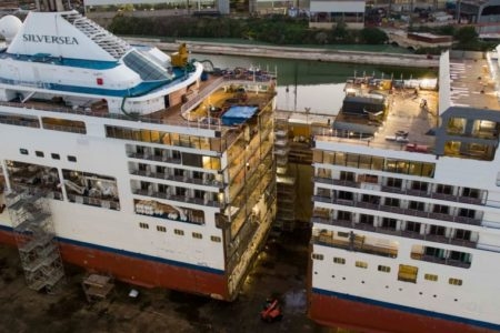 See the Silver Spirit Cruise Ship Get Sliced in Half